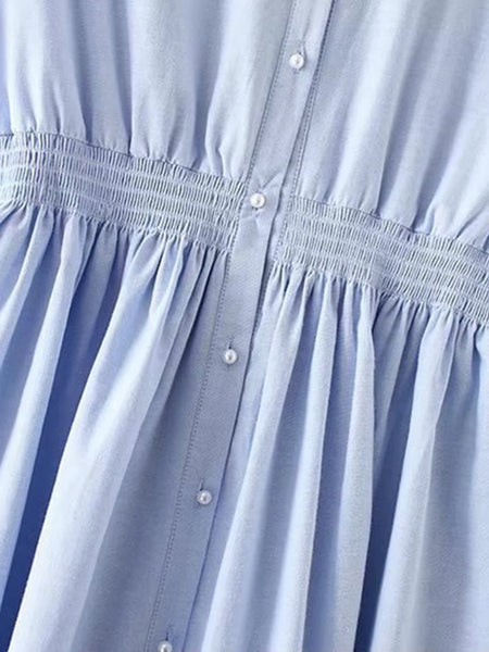 Blue Pearl Buttons Short Sleeve Elastic Waist Dress