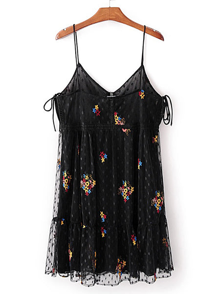 Black Polka Dot Floral Embroidered Eyelet Mesh Cami Dress