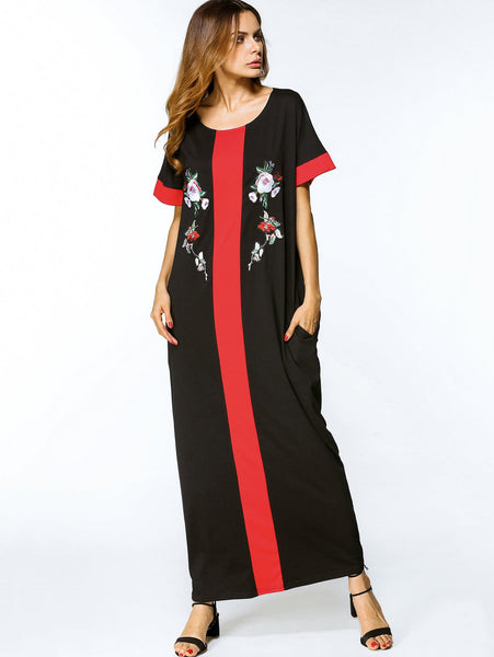Black Contrast Panel Floral Embroidered Side Pocket Maxi Dress