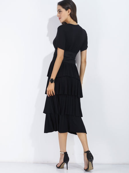 Black Belted Flounce Tiered Short Sleeve Dress