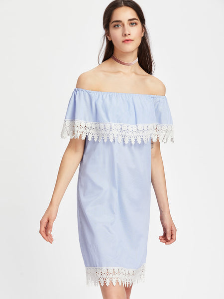 Blue Contrast Lace Trim Flounce Layered Striped Dress