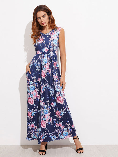 Navy Round Neck Floral High Waist Maxi Dress