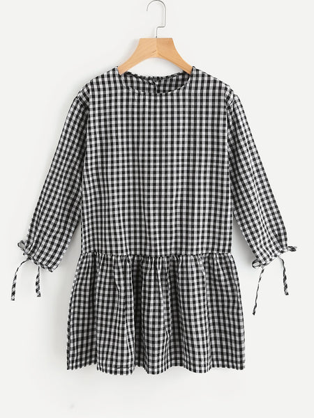 Black Round Neck Tie Cuff Back Button Smock Dress