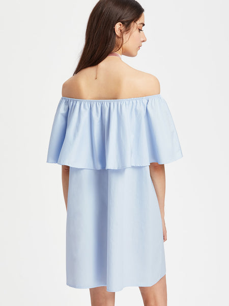 Blue Off Shoulder Layered Neckline Embroidered Dress