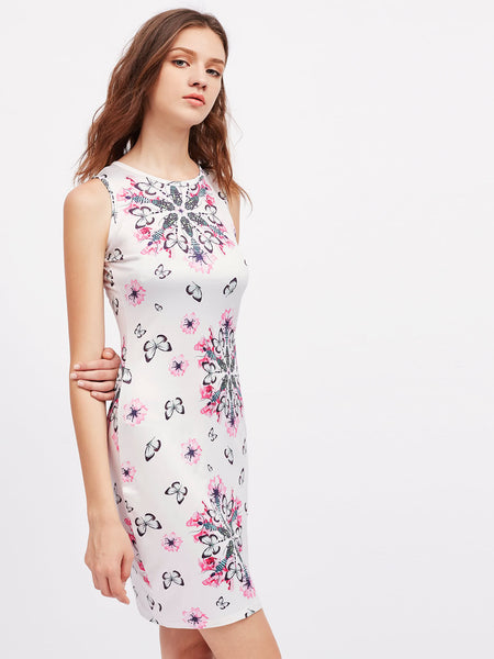 White Sleeveless Butterfly and Flower Print Midi Dress