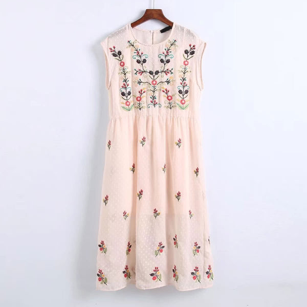 Pink Sleeveless 2 in 1 Flower Embroidery Mesh Dress