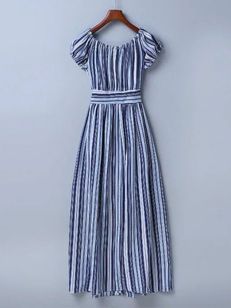 Blue Vertical Striped Cap Sleeve Front Button Tie Waist Dress