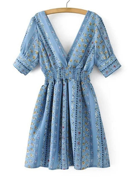 Blue Double V-Neck Lantern Half Sleeve A Line Dress