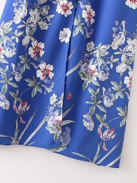 Blue Front Button Slit Ruffle Trim Flower Print Dress