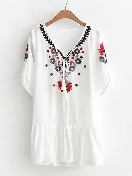White Tassel Tie Flower Embroidery Frill Mini Dress