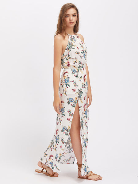 White Allover Floral Print Sleeveless Halterneck Floral Print M-Slit Maxi Dress