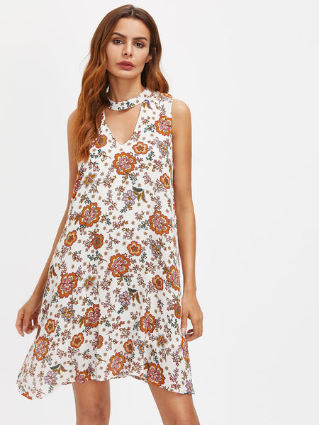 Multicolor Floral Print V-Neck Choker Cut Out Back Dress