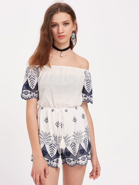 White Embroidered Scalloped Hem Tasseled Drawstring Waist Playsuit