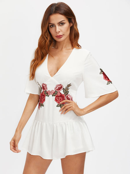 White Floral Embroidered Plunging V-Neck Half Sleeve Playsuit