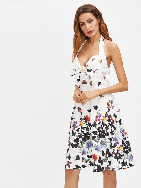 White Bow Tie Front Butterfly Print Halter Dress