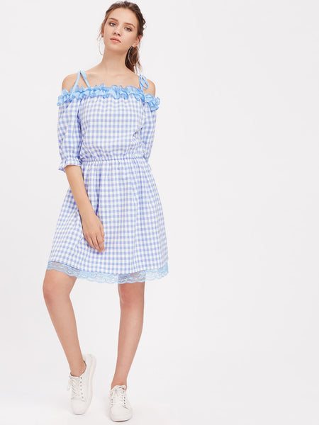 Blue Contrast Lace 3/4 Sleeve Frill Trim Tie Shoulder Dress