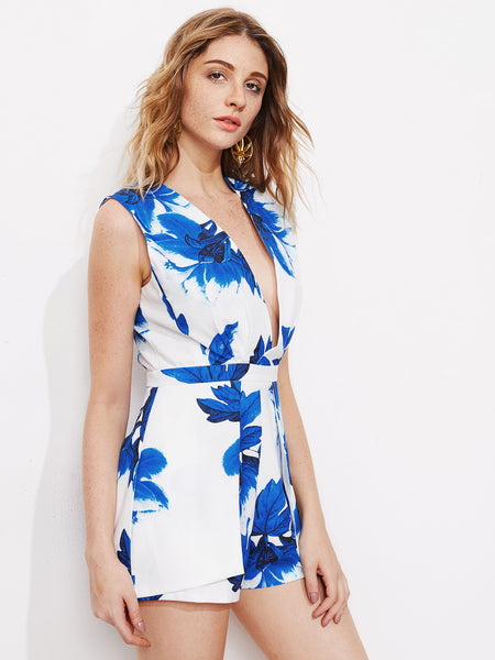 Blue Flower Print Plunging V-Neck Open Back Playsuit
