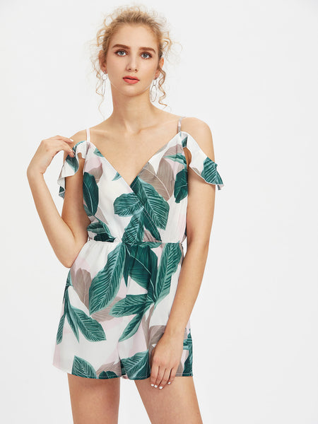 White Leaf Print V-Neck Cold Shoulder Ruffle Trim Playsuit