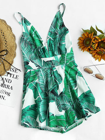 Green Plunging Pocket Leaf Print Zip Back Romper