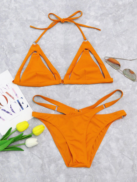 Yellow Triangle Cut Out Detail Halter Wrap Bikini Set