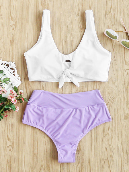 White and Lavender Knot Front Tankini Set