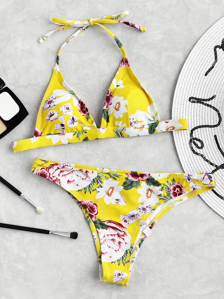 Yellow Floral Print Triangle Halter Neck Swimwear