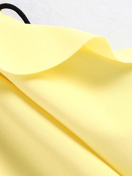 Yellow Contrast Ruffle Lace Up Sleeve Dress