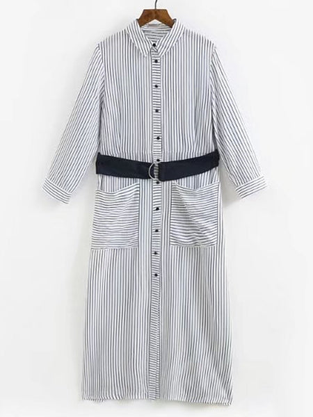 White Button Front Vertical Striped Belted Long Sleeve Shirt Dress