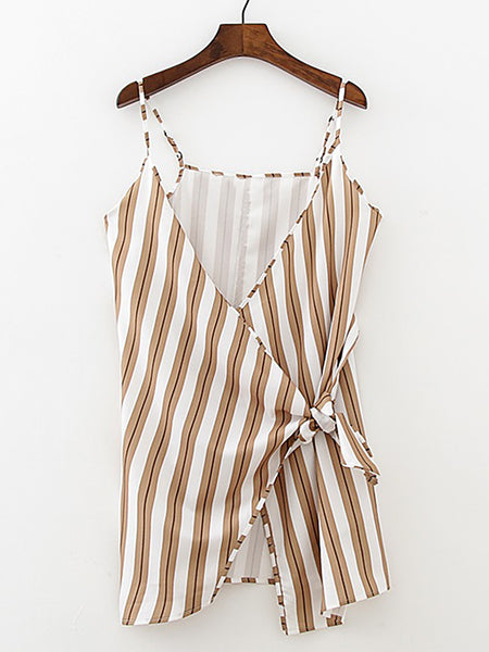 Coffee Stripes Knot Front Wrap Cami Dress