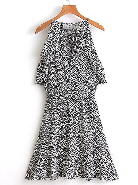 Black Calico Print Round Neck Ruffle A Line Dress