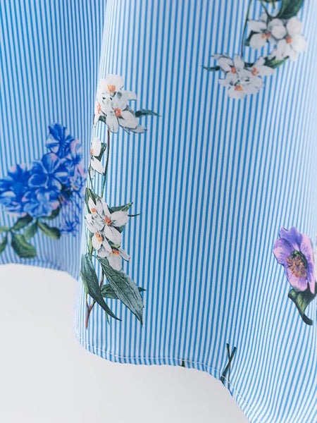 Blue Flower and Stripe Print Knot Front Shirt Dress