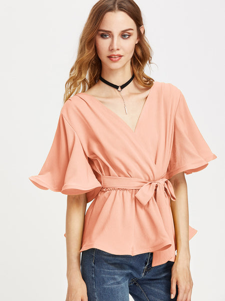 Pink Self Tie Flutter Sleeve Wrap Top