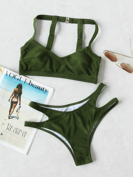 Green Halter Neck Cut Out Strap Detail Back Bikini Set