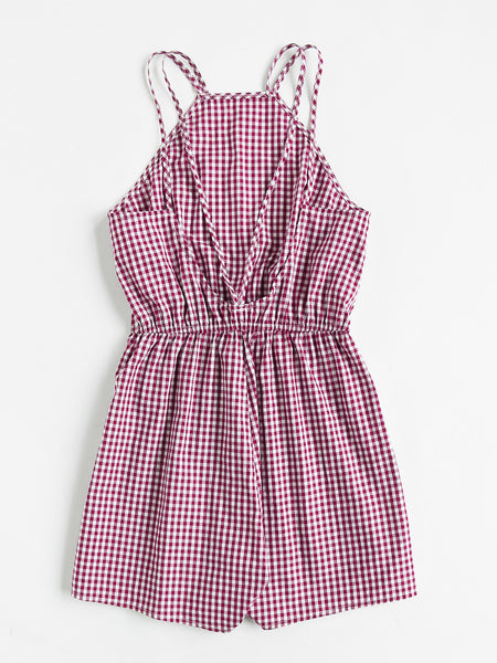 Burgundy Checkered Racer Neck Open Strappy Back Checkered Playsuit