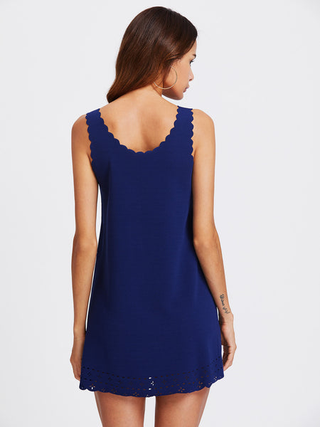 Blue Scalloped Trim Laser Cut Out Mini Dress