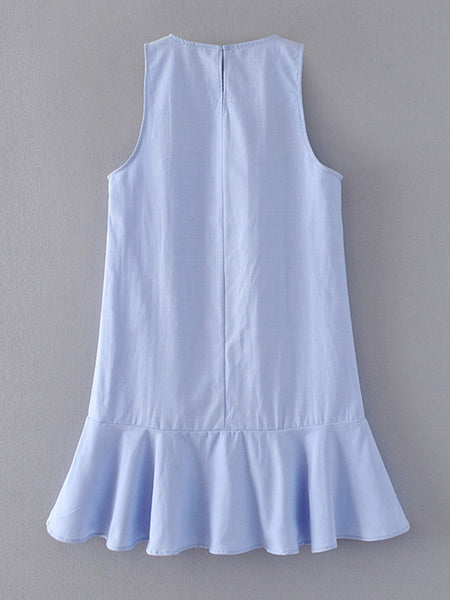Blue Round Neck Flower Embroidered Back Hole Tank Dress