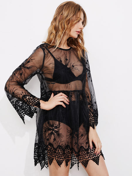 Black Round Neck Mesh Lace Long Sleeve Sheer Dress