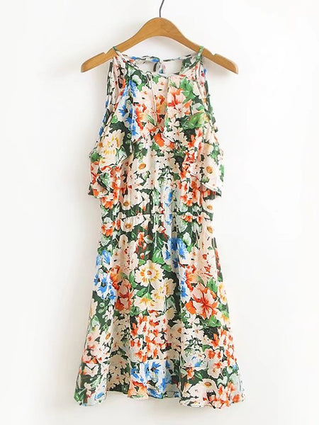 Multicolor Flower Print Frill Tiered Tie Back Dress