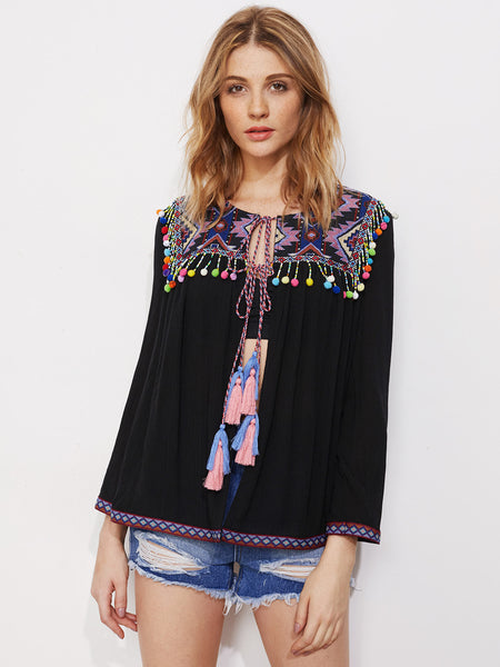 Black Long Sleeve Aztec Design Pom Pom Fringe Trim Blouse