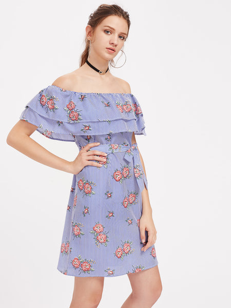 Blue Striped Floral Print Layered Neckline Self-Tie Waist Dress