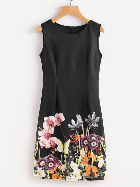 Black Flower Print Sleeveless Zip Back Dress