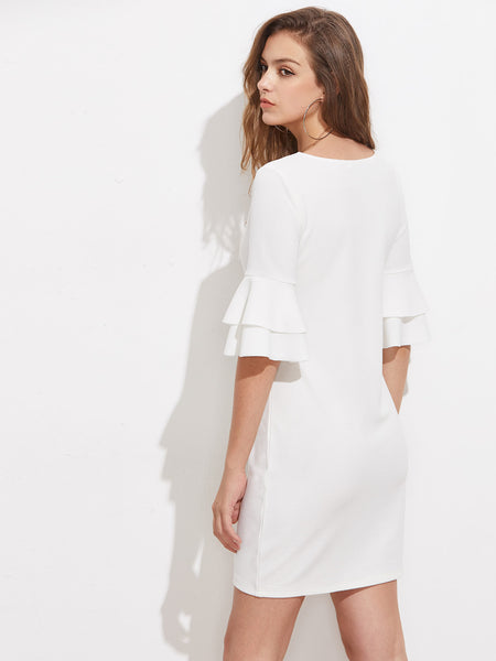 White Round Neck Tiered Flute Sleeve Mini Dress