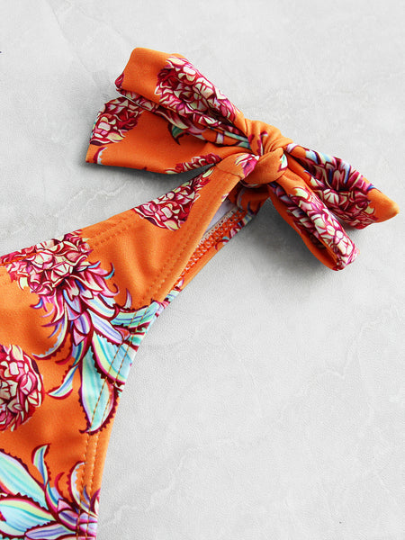 Orange Pineapple Print Padded Tie Shoulder Side Tie Bikini Set