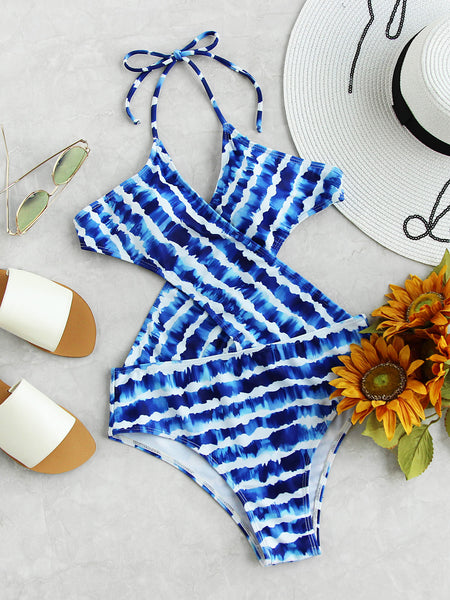 Blue Tie Dye Halter Striped Backless Crossover Monokini