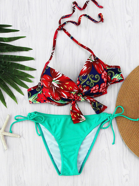 Green Floral Print Knot Front Underwire Mix and Match Bikini Set
