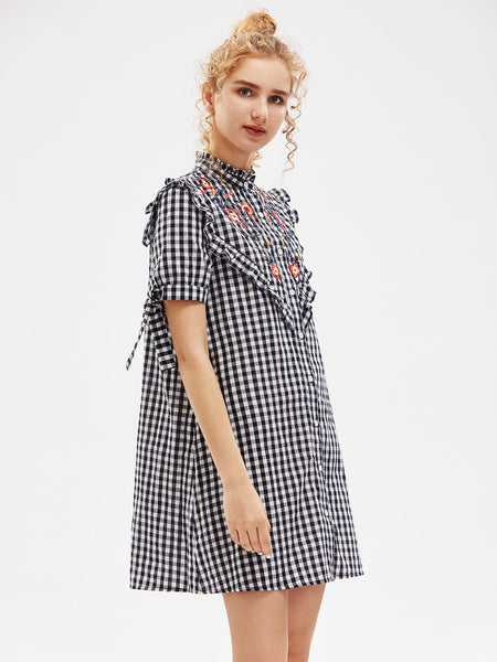 Black Checkered Short Sleeve Embroidered Yoke Frilled Tie Sleeve Turtle Neck Mini Dress