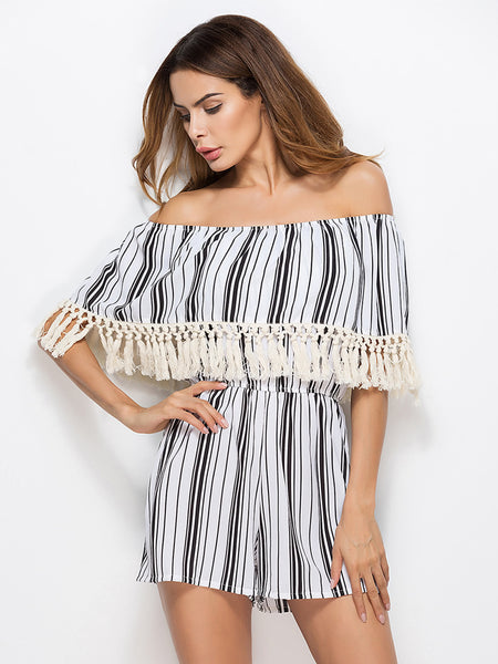 White Striped Layered Half Sleeve Off Shoulder Tassel Trim Romper