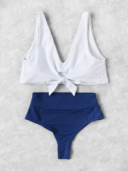 White & Blue Knot Front High Waist Tankini Set