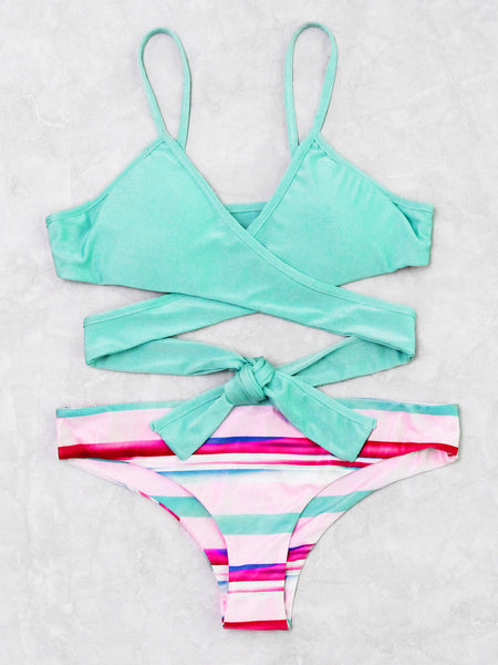 Blue Wrap Padded Mix & Match Striped Bikini Set