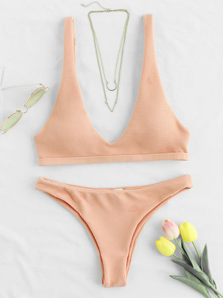 Pink Plunge Neckline Adjustable Strap Open Back Bikini Set